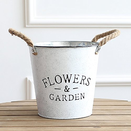 KIKIXI Rustikale Garten antike Bügeleisen blumenarrangierens Schaufel retro Blumen Dose Blume Eisenfässer Dekoration Drums American Kreative, Weiß