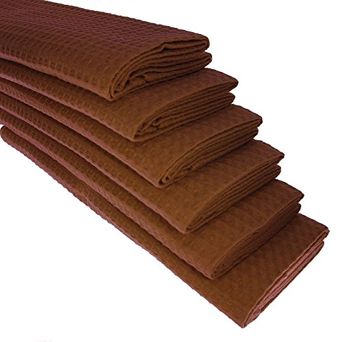 6x-tea-towel-100-cotton-waffle-pique-in-brown-dark-brown-gastro