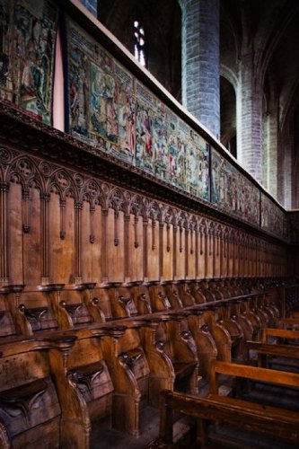 The Poster Corp Panoramic Images - Choir stalls at Abbatiale Saint-Robert La Chaise-Dieu Haute-Loire Auvergne France Photo Print (60,96 x 91,44 cm) - Choir Stall