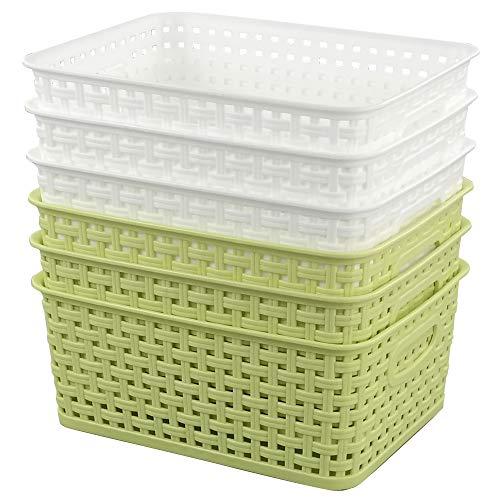 Annkky Kunststoff Praktische Korb Aufbewahrungskorb 6er Set, Körbe Plastik Klein