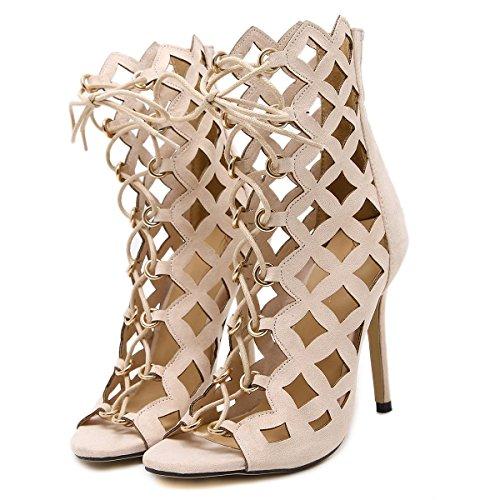 LvYuan-mxx Chaussures femmes talons hauts / Printemps Été / lacets romains creux cravate laser / Boîte de nuit sexy / Bureau & Carrière Party & Evening Dress / talon aiguille / sandales BEIGE-US85EU39UK65CN40