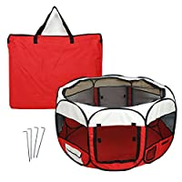 SavingPlus 3 Colours Fabric Pet Dog Cat Puppy Playpen Soft Foldable Rabbit Guinea Play 118x118x49cm (Red)