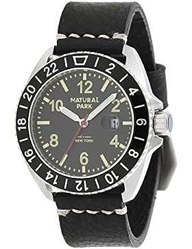 Herren Sport Armbanduhr mit schwarzem Zifferblatt, beleuchtete Zeiger, schwarzes Lederband
