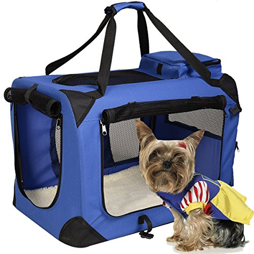 Hundetransportbox faltbar Hundebox Transportbox Autobox Transporthütte Polster & Transporttasche (Blau, XL)