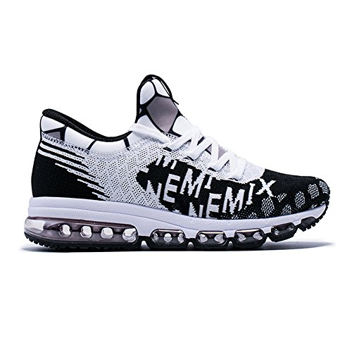 Onemix Men's And Women's Mid-Top Air Cushion Knit Walking Trainers Fitness Sports Running Shoes White Black