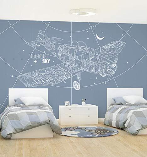 3D Vliestapete Fototapete Nordic Creative Aircraft Wallpaper Children'S Room Wallpaper Boy Warm Bedroom Background Wall Painting Seamless Green Wall Covering, 400 * 280