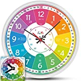 Kinderuhr-Set ◆ lautlos ◆ | Wanduhr Ø30cm ★ mit Spielzeug-Lernuhr ★ zum Uhr lesen lernen | Geburtstagsgeschenk-Idee: Kinderwanduhr groß & bunt für Jungen & Mädchen | Kinderzimmer Uhren-Set ohne Ticken