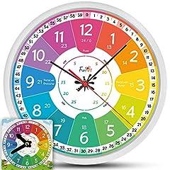 Idea Regalo - Funtini, Set di orologi silenziosi per bambini. Orologio da parete di 30 cm di diametro con giocattolo di apprendimento per imparare a leggere l'ora. Idea regalo:Orologio da parete per bambini grande e colorato per ragazzi e ragazze. Set di orologi di set senza ticchettio