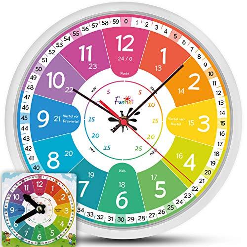 Funtini Kinderuhr-Set ◆ lautlos ◆ Geschenk zur Einschulung | Wanduhr Ø30cm mit Spielzeug-Lernuhr zum Uhr lesen lernen | Geschenk-Idee: Kinderwanduhr groß & bunt für Jungen & Mädchen