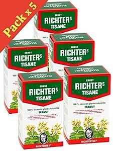 [Prix en baisse !] [Top minceur !] Lot de 5 boîtes de Tisane infusion Ernst Richter 40g - 100% à base de plantes naturelles / Régulation du transit / Spécial Minceur / 5 x 20 sachets filtres de 2g