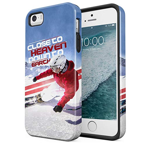 Maceste Skiing Close to Heaven Quote Compatible with iPhone 5 / 5s / SE Silicone Inner & Outer Hard PC Shell 2 Piece Hybrid Armor Case Cover (Snowboard-131)