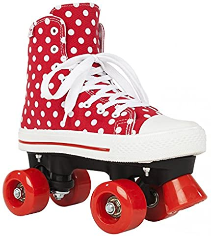 Rookie Canvas High Polka Dots, rollers 4 roues mixte enfant, Canvas High Polka Dots, rouge/blanc