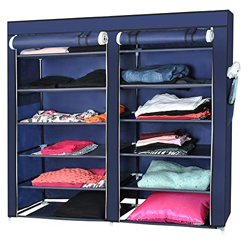 Iso Trade Garderobe Stoffschrank Faltschrank Camping Regale 113x29x 108cm Marineblau 5353 -