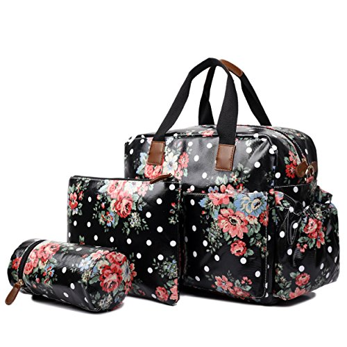 Miss Lulu 4 PCS Baby Nappy Diaper Changing Bag Set Large Tote Handbag Butterfly Flower Polka Dots Elephant Dog Cat Bird Print (Flower Black)