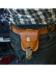 Bazaar La parte superior de cuero larer bolsa de accesorios de pesca para la bolsa de bolas de acero pistolera