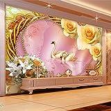 Wandgemälde Benutzerdefinierte Fototapete 3D Stereo Seide Romantische Rose Swan Liebe Wohnzimmer Sofa Tv Hintergrund Wandbild Tapete Schlafzimmer,60Cm(H)×120Cm(W)