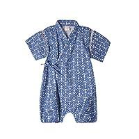 ACVIP Bébé Garçon Fille Une Pièce Combinaison Barboteuse Kimono Pyjama Printemps& Eté (Pour bébé 3-9mois, Bleu Foncé-quadrangle)
