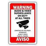 Monsety Placa de Advertencia de Metal con Texto en inglés Funny Metal Sign Warning Audio & -Video Surveillance On Duty At All Times Aviso Camaras De Vigilancia Grabando Home
