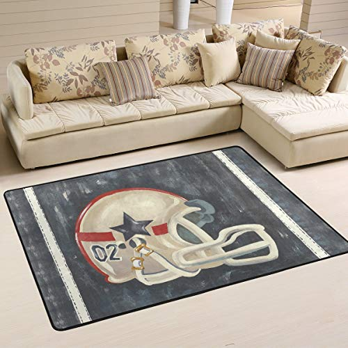 XiangHeFu Personalisierte Teppiche Rugby Football Helm 3'x2 '(36x24 Zoll) Boden Fußmatten Matte weich für Wohnzimmer Schlafzimmer Home Küche dekorativ -
