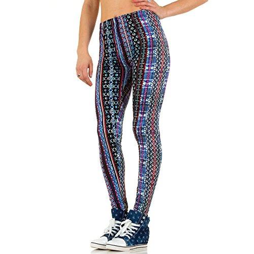 Damen Leggings Hose Slim Strumpfhose Pants Elastische High Waist Print Blau ONE SIZE Blau Nr.16