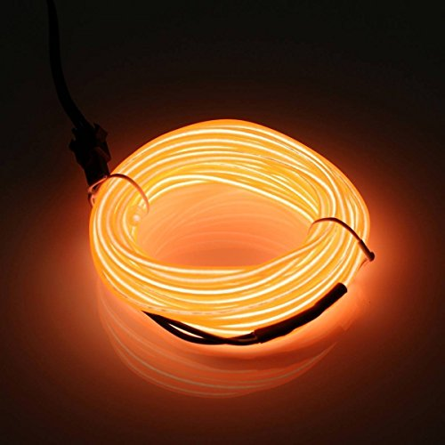Elektrolumineszenz Draht Kostüm - Possbay 1m 2m 3m 4m 5m el Draht Neon Lights Glow Leuchtmittel Elektrolumineszenz-Folie mit Controller für Car Home Party Kostüm Dekoration, Orange, 5 m