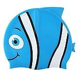 Hochwertige Silikon-Badekappefür Kinder –Schwimmkappe mit Tiermotiv für Mädchen & Jungen–4lustige Fisch-Designs–Haar-Schutz vor Bakterien und Chlor im Schwimmbad, blau