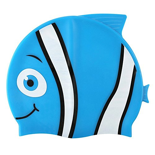 Premium Silikon Kinder Badekappe – Ideal Cartoon Swim Hat für Kinder – 4 Fun Fish Designs – Haar Schutz vor Bakterien und Chlor in der Pool
