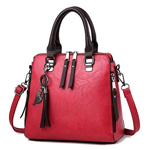 Ruiren Multifunktions Metall Schnalle Soft Tasche Portable Schultertasche Frauen Messenger Bags Frauen Handtasche Schultertasche Burgund