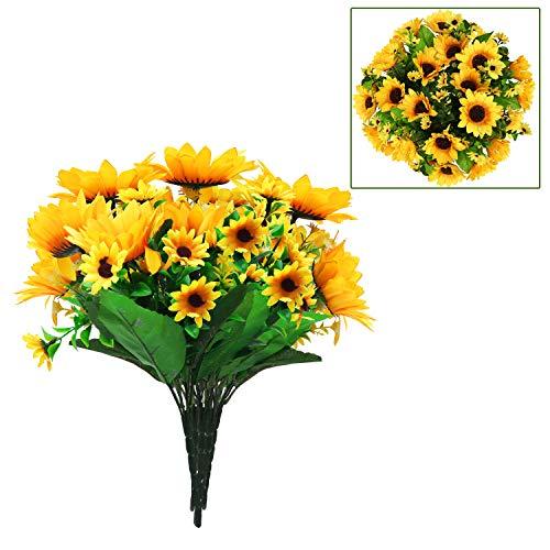 Fiori artificiali (6 pezzi) - mazzo di girasoli con 4 x fiori grandi (10 cm) / 9 x fiori piccoli (4 cm) con foglie - girasoli finti per decorazioni e composizioni floreali per vasi, matrimoni e casa