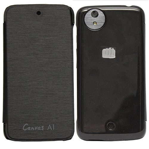 DMG Premium Flip Book Cover Case for Micromax Canvas A1 Android One Mobile (Black)
