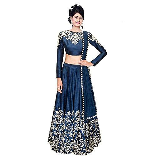 Pd Cloth Villa Women's Banglory Lehenga Choli (Blue Colour,Free Size, Semi-Stitched)