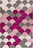 Carpetforyou Schöner Moderner Teppich Pink Pearls geometrisch bunt rosa grau Creme in 4 Größen für Wohnzimmer oder Schlafzimmer (160 x 230 cm)