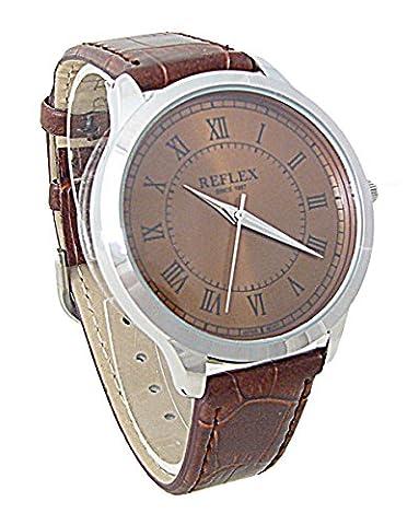 Reflex Gents Brown Dial Brown Croc Effect PU Buckle Strap Smart Watch REF0020