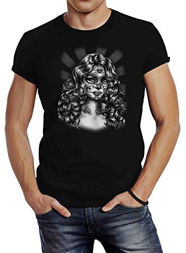 Neverless Herren T-Shirt Dia De Los Muertos Girl Day of Dead Slim Fit Schwarz L