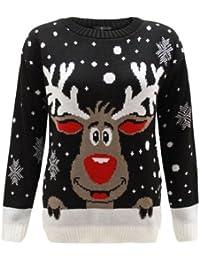 Kinder Mädchen Jungen Strick Rentier Weihnachten Rudolf Weihnachts Neuheit Jumper Pullover Top 2–14