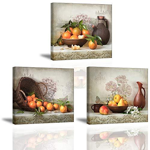 Piy Painting Cuadro en Lienzo en Cosecha de Fruta Naranja Pinturas murales Decoración Impresiones de Lienzo Arte de La Pared para Sala de Estar Cocina Dormitorio San Valentin 30x40x2.5cm 3units