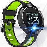 KLE Big Screen Blutdruck Armband Bluetooth Telefon Sport Schrittzähler Wasserdicht Runden Bildschirm Armband Smart Watch (Farbe : Green)
