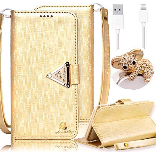 Custodia in Pelle per iPhone 7 (4.7 Pollici), bling perla flip cover per iPhone 7 (4.7 Pollici), Vandot 3D Lusso Accessori Duro protezione completa Antigraffio Vibrazione Portafoglio con Carte Slot Cr Oro
