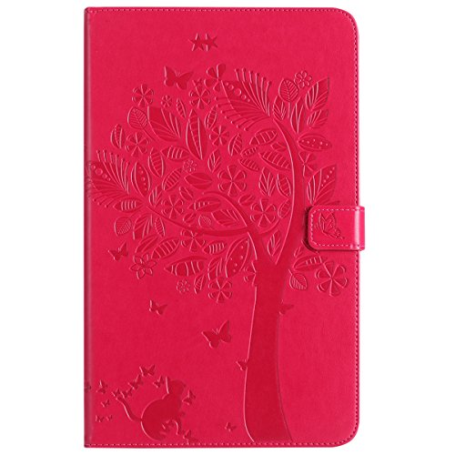 Custodia Galaxy Tab A 10.1, Galaxy Tab A 10.1 Flip Case Leather, SainCat Custodia in Pelle Cover per Samsung Galaxy Tab A 10.1 T580/T585, Anti-Scratch Book Style Protettiva Caso PU Leather Flip Portaf Rosso