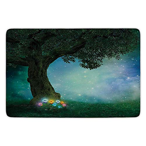 Bathroom Bath Rug Kitchen Floor Mat Carpet,Forest Decor,Fairytale Little Red Riding Hood Forest at Night with Flowers and Stars Image,Multicolor,Flannel Microfiber Non-Slip Soft Absorbent Velvet Red Riding Hood