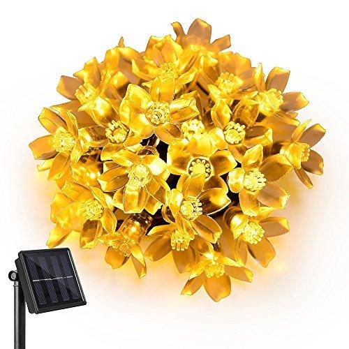 Ankway flor de la secuencia solar Luces (5M 8 modos impermeable )  30 LED guirnalda luz solar  luces decorativas led para jardín  patio  árbol de Navidad  casa  cuarto  boda y fiesta (blanco cálido)