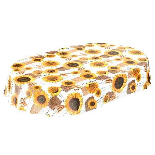 Tovaglia di tela cerata, lavabile, motivo a girasoli, estiva, in diverse dimensioni, asciugamani, mit muster, oval 140 x 180cm
