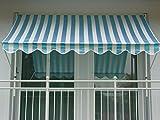 Angerer 2305/1001 Klemmmarkise PE-Gewebe Blockstreifen, Blau, 200 cm
