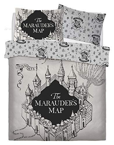 FAIRWAYUK Disney Charaktere Kinder Junge Bettbezug Umkehrbares Bett Set - Hp Marauders Map, Doppel (Disney Jungen Charaktere)