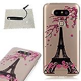 TOCASO Ultra Thin TPU Schutzhülle für LG G5 Hülle Transparent Bumper Cover Tasche Clear Ränder Etui + Schwarz Stylus Pen für LG G5 Design Plum and Tower