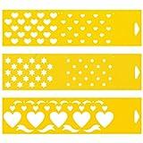 (Satz von 3) 30cm x 8cm Flexibel Kunststoff Universal Schablone - Textil Kuchen Wand Airbrush Möbel Dekor Dekorative Muster Torte Design Technisches Zeichnen Zeichenschablone Wandschablone Kuchenschablone - Herz Sterne Band