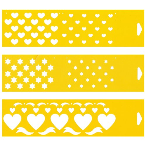 (Satz von 3) 30cm x 8cm Flexibel Kunststoff Universal Schablone - Textil Kuchen Wand Airbrush Möbel Dekor Dekorative Muster Torte Design Technisches Zeichnen Zeichenschablone Wandschablone Kuchenschablone - Herz Sterne - Vinyl-grafik-band
