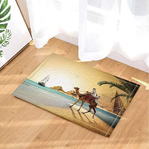 hdrjdrt Sonnenlicht verlassenes Meer Pyramiden Kamel in weißen Kleidern ägyptischen Marihuana Blätter Badmatte Weiche absorbierende rutschfeste verschleißfest