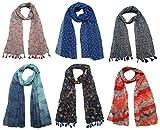 #10: FusFus Printed Designer Poly Cotton Set of 6 Mullticoloured stoles ; Trendy scarf stoles dupatta for Girls/Ladies/Women (F014)