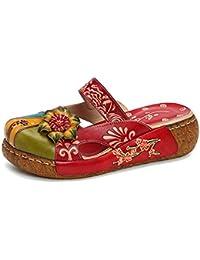 gracosy Damen Mokassins Slipper, Plattform Sandalen Pantoffel Sommerschuhe  Leder Vintage Rückenfrei Clogs Bunte Blume Flache Schuhe Weich… 41ccfae5d9